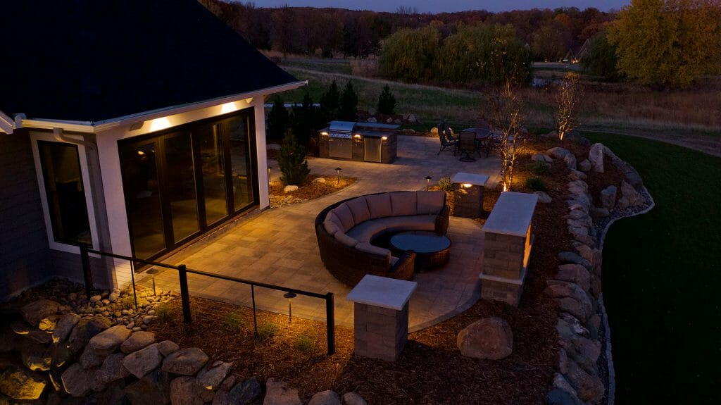 private oasis with fireplace